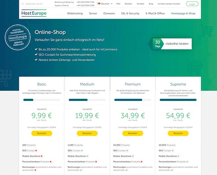Host Europe Onlineshop Einfach Und Funktional Onlineshop